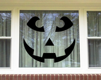 Halloween Jack-O-Lantern Window/Wall Vinyl Decal Decorations...You choose the color!