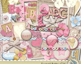 """Digital Elements Pack Instant Download - """"Sweet Baby Girl"""" - Great for baby girl scrapbooks, cards, invitations, crafts"""