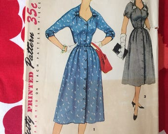 1950s 50s Pretty Day One Piece Dress Original Vintage Sewing Pattern Simplicity 4962 Bust 36