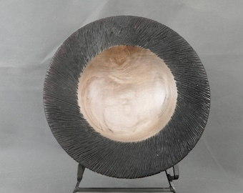 Textured Maple Bowl Hand Turned & Carved