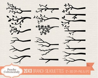 BUY 2 GET 1 FREE Branch silhouettes clipart -  bare branch silhouette clip art - Commercial Use Ok