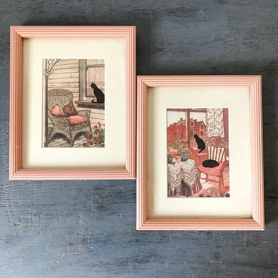 vintage black cat prints - Karel's Kats - Nantucket Graphics - framed cat cards - boho wall hangings - blush pink - cat lover - Set of 2