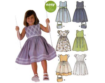 Girl's Dress and Purse Sewing Pattern Child Size 5-6-7-8 UNCUT Easy to Sew Simplicity 5223