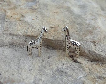 Giraffe Earrings, Solid Sterling Silver Giraffe Stud Earrings, African Safari Jewelry
