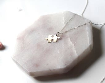 Jigsaw Piece Necklace // dainty sterling silver necklace // with gift packaging