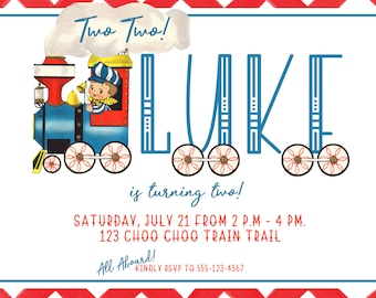 Choo Choo Party Personalized Printed Invitation