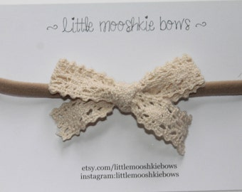 Lace Bow~Crochet bow~Baby bow headband~Girls Hair Bow~Fabric Bow~Baby Bows~Hand Tied Bow~Baby headband ~baby girl ~toddler girl
