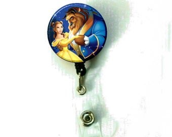 Beauty and The Beast Dance Image Retractable ID Name Holder Badge Reel Clip On Nurse