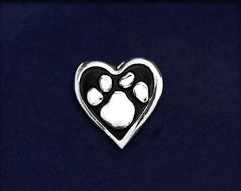 Paw Print Heart Tac Pin (1 Pin - RETAIL) (RE-PPP-04)