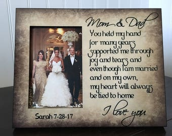 Parents wedding gift // Wedding picture frame for  parents // you held my hands for many years