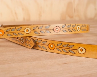 Mandolin Strap - Leather with modern stylized flowers - Marty pattern in Gray and Antique Tan - For Mandolin or Ukulele