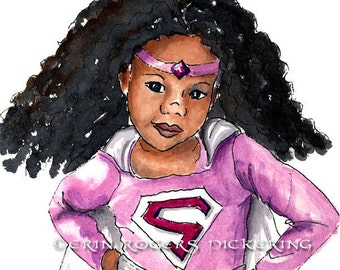 African American Super Girl with Natural Hair 8x10 art Print