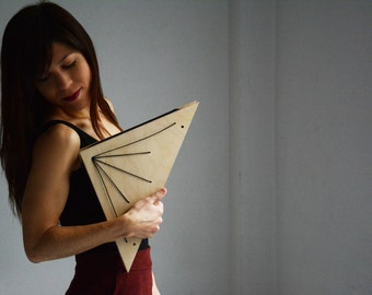 Wooden Purse, Modern Clutch, Triangle, Women, Eccentric, Geometric, Minimal,gift for her, gift for architect, gift for fashion lover