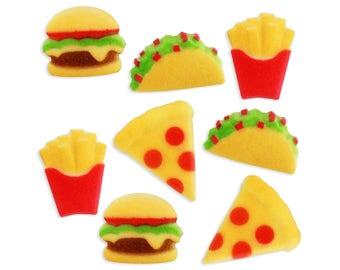 Fast Food Sugars - pizza cake toppers, taco cupcake toppers, french fry cake decorations, burger cupcake toppers, junk food cake toppers