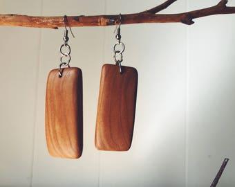 Simple wood earrings - Cherry wood