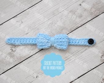 CROCHET PATTERN - crochet bow tie pattern, newborn bow tie pattern, newborn photo prop pattern, crochet baby pattern
