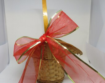 Basket Flower Girl Vintage Basket Natural Basket Woven Basket Wide Brim Basket Red Gold Bow Storage Home Decor Table Decor Unique Basket
