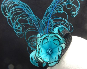 Fascinator hat, turquoise fascinator, feather headpiece, wedding guest hat, tea party hat, turquoise and black