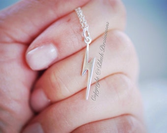 Lightning Bolt Necklace - Solid Sterling Silver Flat Pendant Charm - Insurance Included