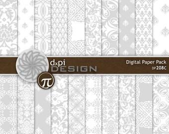 Silver Damask Digital Paper and Printable Wedding Images - Digital Light Gray Damask Scrapbook Paper Designs - Instant Download (DP208C)