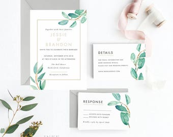 Botanical Wedding Invitation Suite, Wedding Invitation Printable, Invitation Set, Wedding Invitation Rustic, Letter or A4 (Item code: P346)