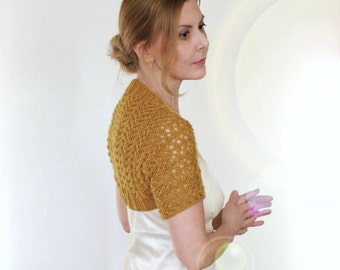 Lace Shrug Wedding Bolero Mia Bridal Cover Up Mustard Bridesmaid Cashmere Merino Yellow Gold Mesh Hand Knit Short Sleeves Size XS S