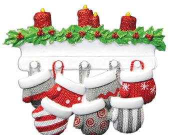 Mitten Family of 7 Personalized Christmas Ornament