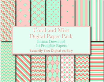 Mint and Coral Digital Paper Pack, 14 Printable Papers, Scrapbooking, Card Making, Paper Crafting, Instant Download