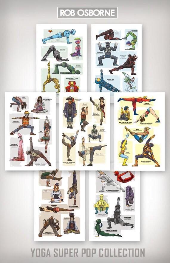 YOGA SUPER POP Collection - Seven Art Prints - 11x17 by Rob Osborne