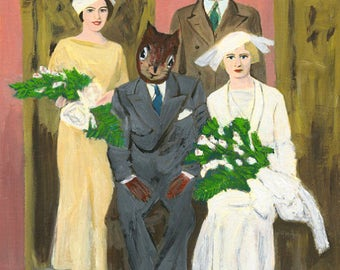 The wedding party. Limited edition print by Vivienne Strauss.