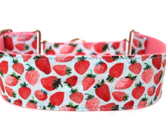"""Strawberry Dog Collar 2"""" wide Martingale Dog Collar for Large Breed Dogs Pink Dog Collar Summer Dog Collar"""