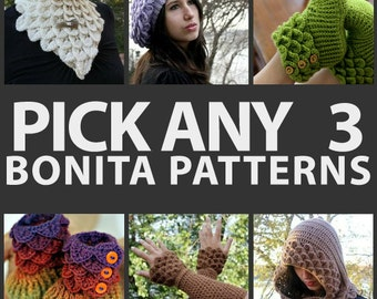 CROCHET PATTERN:  Any Combination of 3 Bonita Patterns (Bundle) - Permission to Sell Finished Product