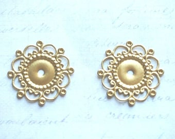 2 charms round Golden prints and perforated 23mm