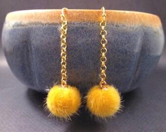 Faux Fur Earrings, Yellow Acrylic Pom Pom Earrings, Gold Dangle Earrings, FREE Shipping U.S.