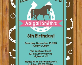 Horse Birthday Invitation Horse Riding Invite Horseshoe Western Turquoise Brown Pink Party Printable Invitation Printable Invite (362)