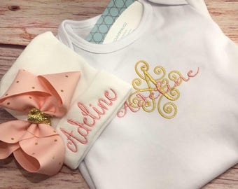 Newborn gown, infant outfit, newborn take home outfit, newborn gown with hat, newborn hat, newborn baby outfit, newborn baby girl outfi,