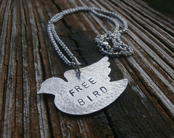 STERLING SILVER Free Bird Pendant Necklace, Hand Sawed Jewelry, Solid 925 Silver, Hammered Metal, OOAK