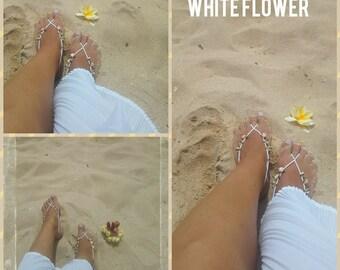 White flower beach wedding barefoot sandals