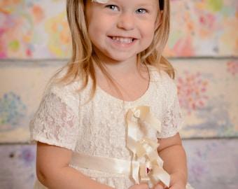 Navy Blue & Cream Headband  - Flower Girl Newborn Baby Infant Toddler - Wedding Lace Chiffon Flower