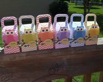 Owls in Rainbow Colors Favor Boxes  Set of 12 with Free Shipping