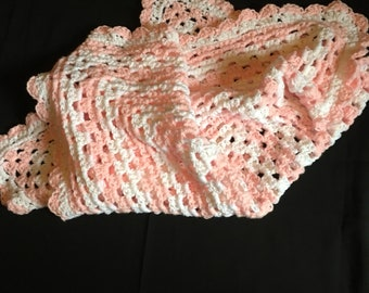 Crochet baby blanket, granny square blanket, pink and white baby blanket