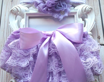2pcs Lavender baby Bloomer set,Lavender Lace Bloomer,lace diaper cover,newborn bloomers,Baby outfit,newborn outfit,ruffles,cake smash