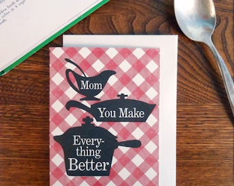 letterpress mom you make everything better cookbook greeting card red gingham plaid pots & pans mother's day thank you birthday