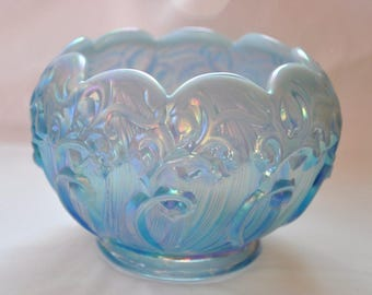 Vintage Fenton Opalescent Blue Glass Rose Bowl, Lily of the Valley Design, Beautiful Iridescent Blue Glass Dish, Pretty Fenton Home Decor