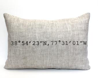 "housewarming gift, longitude and latitude pillow, graduation gift, wedding gift, coordinates pillow, mothers day gift - ""The Coordinates"""
