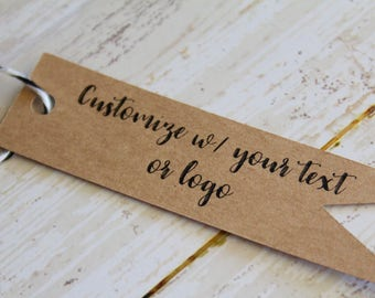 YOUR TEXT HERE, Pennant Tag, Flag Tag, Personalized, Custom Printed Tags, Marketing, Branding