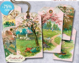 75% OFF SALE Spring Tags - Digital Collage Sheet Digital Tags T013 Printable Download Image Tags Digital Image Summer tags Flowers