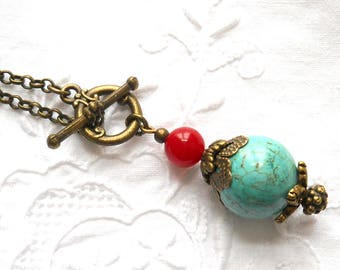 long bohemian gypsy necklace boho necklace turquoise and red necklace gemstone necklace stone jewelry bohemian jewelry