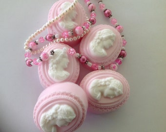 Set of 5 Rose Scented Baby Pink Cameo Guest Soap