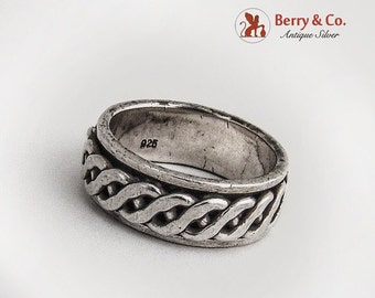 SaLe! sALe! Vintage Weave Band Ring Rotating Central Part Sterling Silver